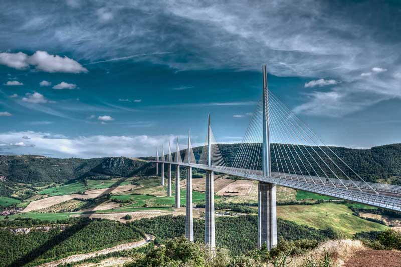Millau Viaduct, Aveyron Departement, France — © Photo by mmedp/Depositphotos